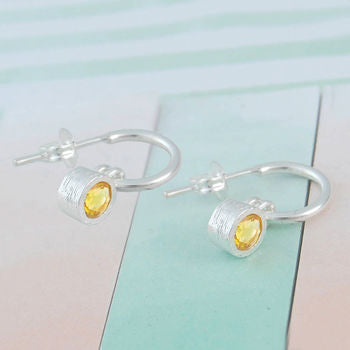 Citrine Birthstone Sterling Silver Hoop Earrings