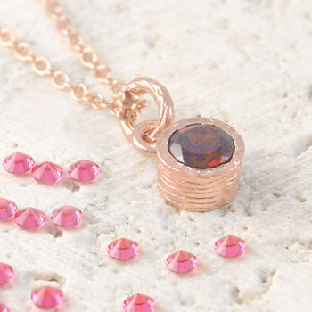 January Garnet Birthstone Rose Gold Round Necklace