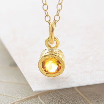 Gold Round Citrine November Birthstone Necklace