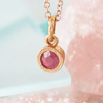 Ruby Gold Birthstone Textured Necklace