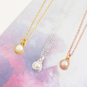 Silver And Gold Birthstone White Pearl Necklace