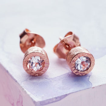Dot Rose Gold White Topaz Stud Earrings