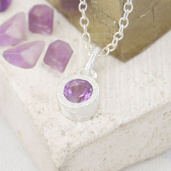Amethyst February Birthstone Round Silver Necklace