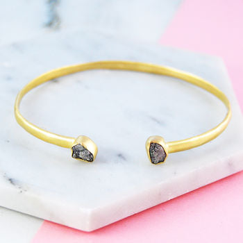 Double Diamond Birthstone Gold Cuff Bangle
