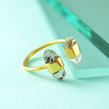 Double Herkimer Diamond Adjustable Gold Ring