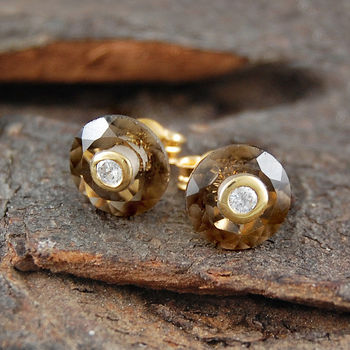 Double Set Stone Smokey Quartz Gold Studs