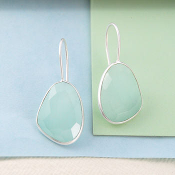 Drop Aqua Chalcedony Silver Hook Earrings