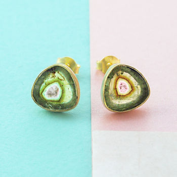 Green And Pink Layered Tourmaline Birthstone Gold Studs