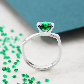 Emerald Birthstone Geometric Faceted Silver Ring
