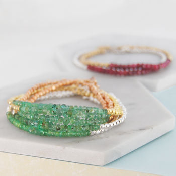 Emerald Birthstone Silver/Gold Friendship Bracelets