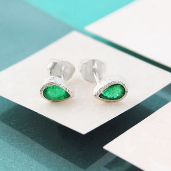 Silver Studs Emerald Birthstone Rose Gold Earrings