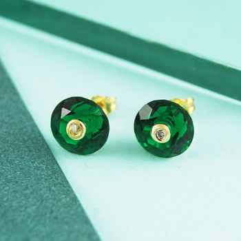 Emerald Birthstone Round Topaz Gold Earrings