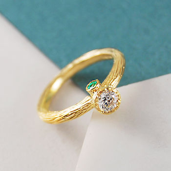Emerald Hidden Birthstone And Topaz Gold/Silver Ring