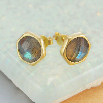 Faceted Gold Rose Cut Labradorite Stud Earrings
