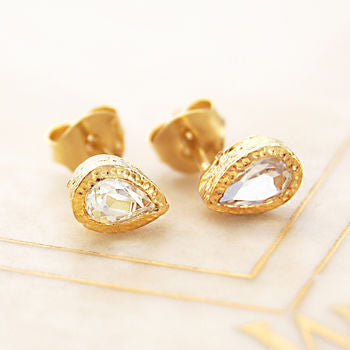 Faceted White Topaz Teardrop Gold Stud Earrings