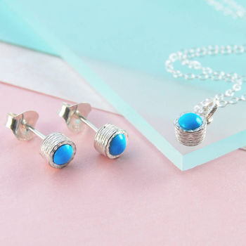 Turquoise Birthstone Silver Jewellery Set