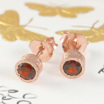 Garnet Rose Gold January Birthstone Stud Earrings