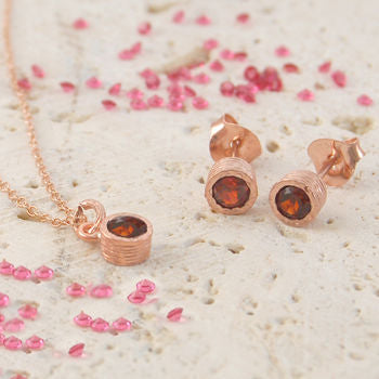 Garnet Rose Gold January Birthstone Round Jewellery Set