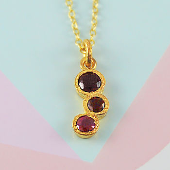 Ruby Semi Precious Birthstone Gold Necklace