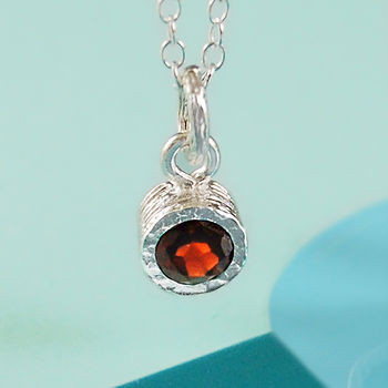 Garnet Semi Precious January Birthstone Silver Set