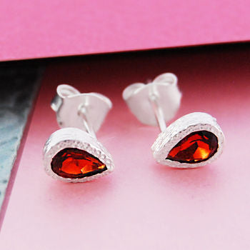 Garnet Teardrop January Birthstone Silver Earrings