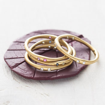 Fine Multi Gemstone Birthstone Gold Stacking Ring
