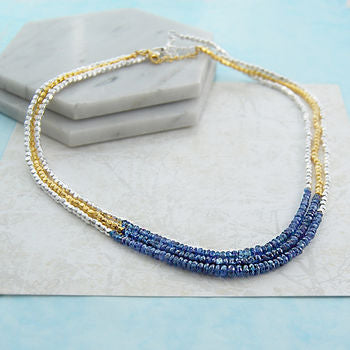 Genuine Raw Blue Sapphire September Birthstone Necklace