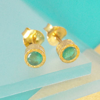 Genuine Emerald Birthstone Gold Stud Earrings