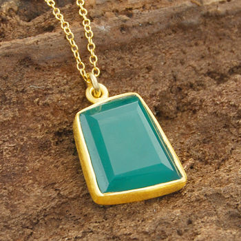 Geometric Green Onyx Gold Necklace