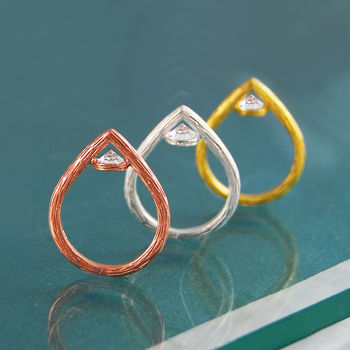 Geometric Topaz Birthstone Gold And Silver Ring