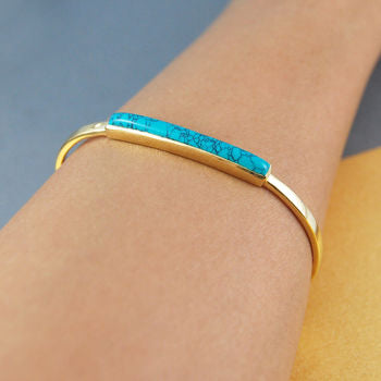 Gold Open Cuff Turquoise Birthstone Bar Bangle