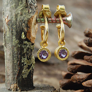 Gold Amethyst Birthstone Hoop Earrings