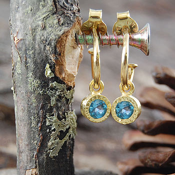Gold And Blue Topaz Circle Hoop Earrings