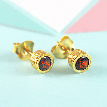 Gold And Red Garnet January Birthstone Stud Earrings