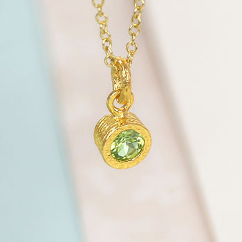 Gold And Solitaire Green Peridot Birthstone Necklace