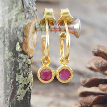Gold And Pink Ruby Hoop Earrings