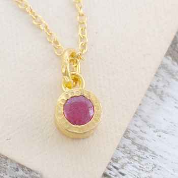 Gold Genuine Ruby Birthstone Jewellery Set