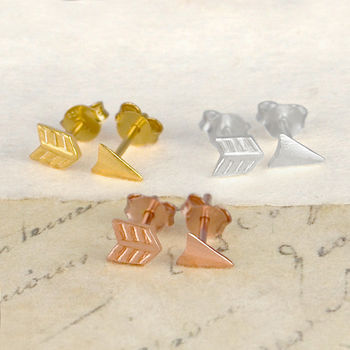 Gold And Sterling Silver Split Arrow Stud Earrings