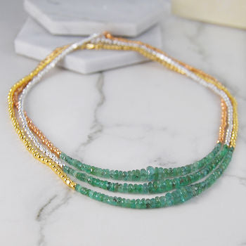 Silver And Rose Gold Birthstone Emerald Necklace