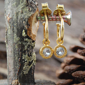 Gold And White Topaz Hoop Earrings