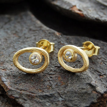 Gold And White Topaz Organic Oval Studs