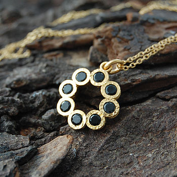 Gold And Black Spinel Rosette Necklace