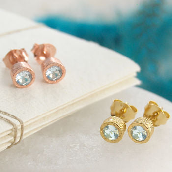 Gold Birthstone Aquamarine Earrings