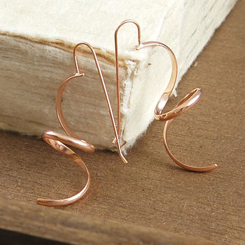 Curly Rose Gold Spiral Drop Earrings