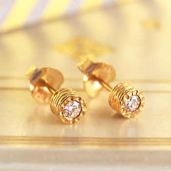 Diamond Birthstone Anniversary Gold Stud Earrings
