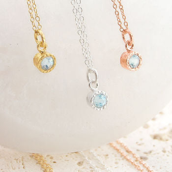 Aquamarine Birthstone Silver And Rose Gold Necklace