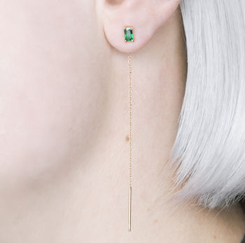 Emerald Gold Crystal May Birthstone Threader Earrings