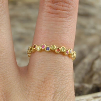 18k Gold Plated Sterling Silver Topaz Stacking Ring