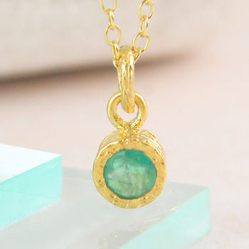 Gold Genuine Emerald May Birthstone Necklace