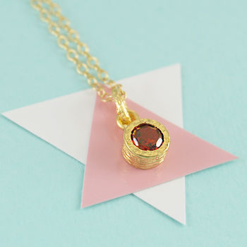 Gold Genuine Garnet January Birthstone Necklace